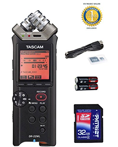 Tascam DR-22WL Portable Handheld Recorder with a Free Patriot 32GB SD Card and 1 Year Free Extended Warranty by Tascam