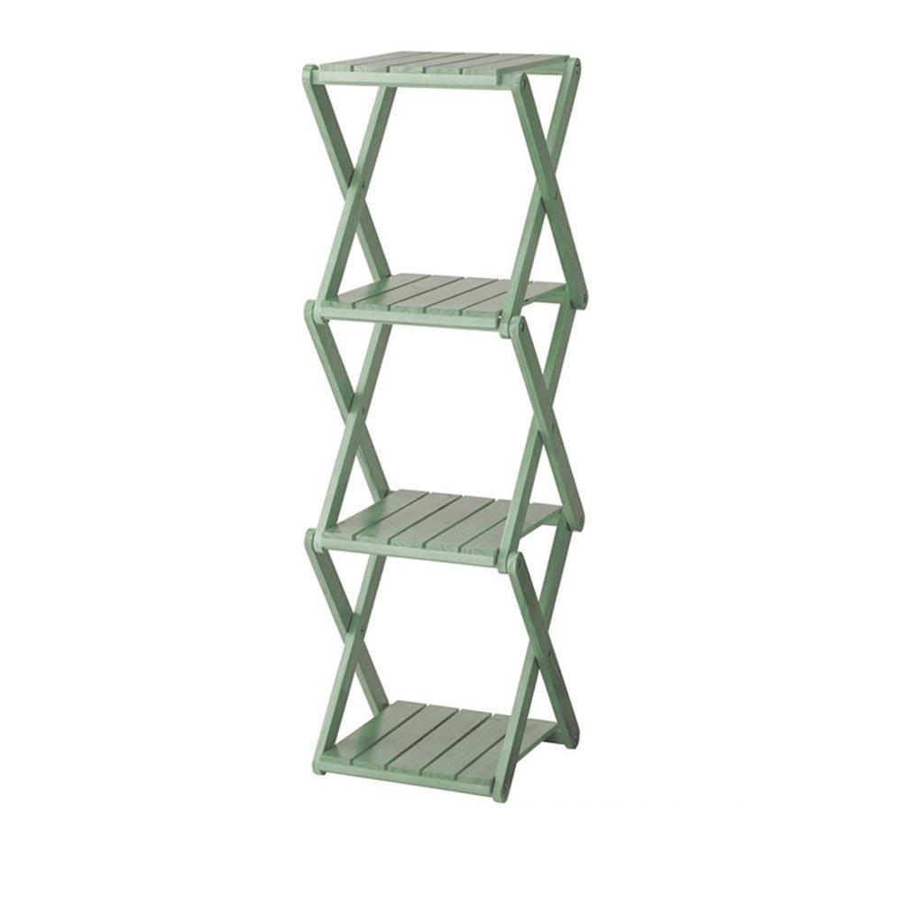 YANFEI 木の折り畳み棚、フラワースタンド、靴のラック、本棚、4つの層(39 * 32 * 105CM) (色 : Green) B07FBCF593 Green Green
