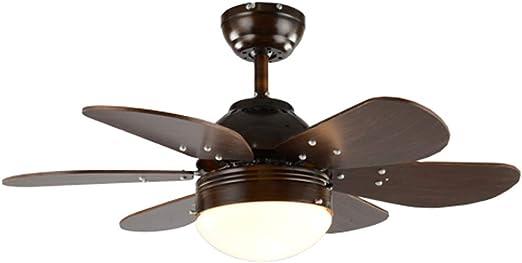 BingWS Lampara Ventilador Techo Ventilador de Techo Americano Luz de Madera 6 Ventilador de Hoja Araña Retro Salón Dormitorio Control Remoto Simple Mute Light Fan (tamaño : 42 Inches): Amazon.es: Hogar