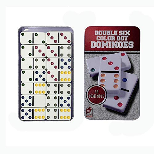 Dominoes Set Double 6 Color Domino - Dominos Game Set in Color Collectors Tin, 28 Dominoes Double Six Dominoes Tin