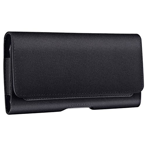 Mopaclle Samsung Galaxy S8 Plus Holster Case, Leather iPhone Xs Max Belt Clip Case Holster Pouch Cell Phone for Samsung Galaxy S8 Plus/iPhone Xs Max - Built in ID Card Slots Cas- Black