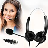 AGPtEK® Hands-free Call Center Noise Cancelling Corded Binaural Headset Headphone with 4-Pin RJ9 Crystal Head and Mic Mircrophone for Desk Phone - Telephone Counseling Services, Insurance, Hospitals, Banks, Telecom Operators, Enterprises
