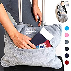 4 in 1 Travel Blanket – Lightweight, Warm and Portable. The Latest Small Compact Airplane Blankets & Pillow Set. Made of…