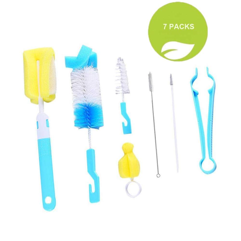 Bottle Brush, 7 pcs Baby Bottle Brush, Cleaner kit for Bottles/Cups/Straw YIKEF