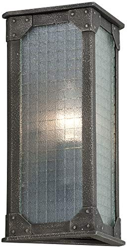 Troy Lighting Hoboken 1-Light Outdoor Wall Light - Aged Pewter Finish with Frosted Safety Glass