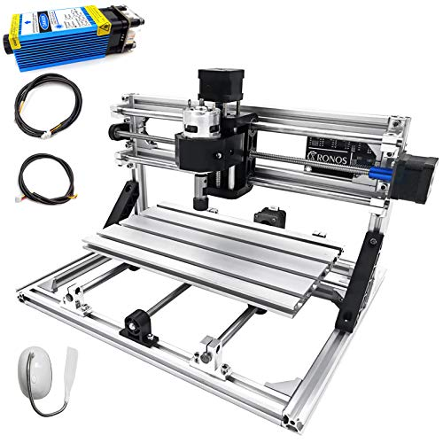 Mophorn CNC Machine 3018 Grbl Control CNC Router Kit 3 Axis PCB Laser Engraver 300X180X45mm With 5500mW Blue Light Laser Module and -