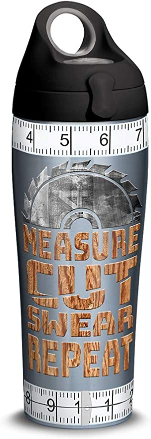 Tervis Measure Cut Swear Stainless Steel Insulated Tumbler With Lid 24 Oz Water Bottle Silver Tumblers Water Glasses