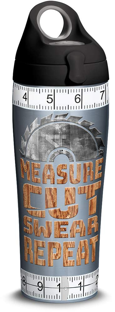 Clear 24 oz Tritan Tervis 1314907 Measure Cut Swear Insulated Tumbler with Wrap and Lid