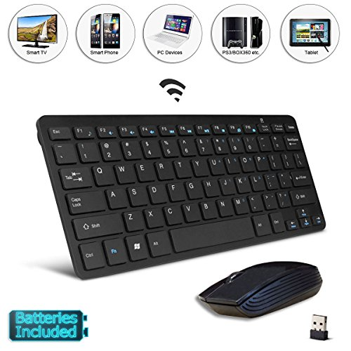 Black Wireless Mini Ultra Slim Keyboard and Mouse For Easy Smart TV Contol for Samsung HT-F9730W Smart Home Theatre System Smart TV (Ht F9730w Samsung Smart Home Theater System)