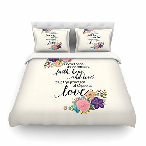 KESS InHouse TC2017ACD03 Noonday Design ''Faith, Hope And Love'' King Cotton Duvet Cover, 104'' x 88'' by Kess InHouse