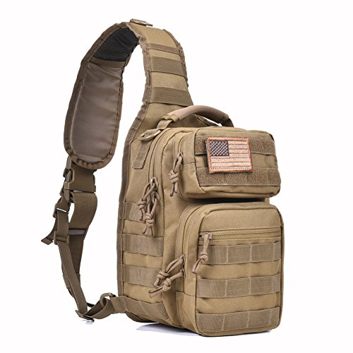 (Tactical Sling Bag Pack Military Rover Shoulder Sling Backpack Molle Assault Range Bag Everyday Carry Diaper Bag Day Pack Small Tan)