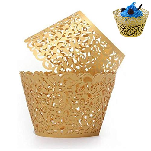 WSERE 60 Pieces Cupcake Wrappers, 7 Colors Lace Liner Muffin Paper Cake Wraps Decorations, Safety Health for Wedding Party Birthday Decor(Gold)]()