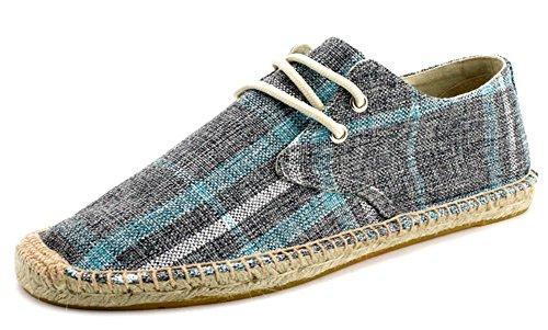 IDIFU Men's Breathable Plaid Flat Lace Up Espadrilles Canvas Sneakers (Blue, 10 D(M) US)