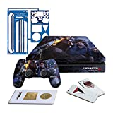 Controller Gear Uncharted 4 Fire Fight - PS4 SLIM Horizontal Console Gaming Skin Pack - Licensed by PS
