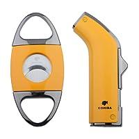 NEW COHIBA Yellow Metal Cigar Lighter Cutter Set 2 Torch Jet Flame Lightets W/Punch (Yellow)