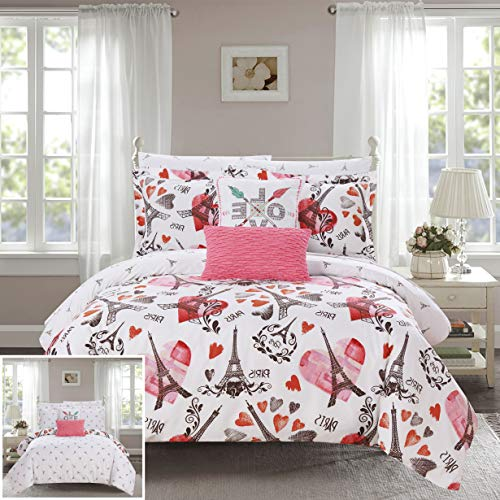 Piece Reversible Comforter Set Paris is Love Inspired Printed Design Bed in a Bag - Sheet Set Decorative Pillows Sham Included, Twin/Twin XL Size, Pink ()