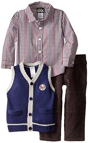 Boys' Rock Baby Boys' 3 Piece Pant Set Sweater Vest Plaid, Blue, 12 Months