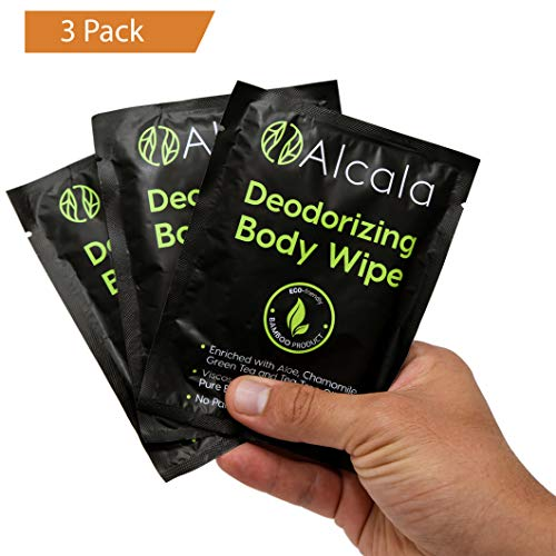 Deodorizing Body Wipes 100% Pure Bamboo with Tea Tree Oil, Individually Wrapped Biodegradable Shower Wipes, Extra Large 10 x10 inches (3 Pack) - Natural Biodegradable Wipes