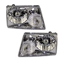 Driver and Passenger Headlights Headlamps Replacement for Ford Pickup Truck 6L5Z13008BA 6L5Z13008AA