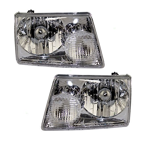 Headlights Headlamps Driver and Passenger Replacements for Ford Pickup Truck 6L5Z13008BA 6L5Z13008AA