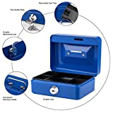 "Cash Box with Lock and Slot for Kids Small Cash Box with Money Tray Metal Piggy Bank Safe Box 4.9"" x 3.7"" x 2.4"" Blue"