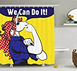 Polka Dot Shower Curtain Ambesonne Unicorn Shower Curtain Set, Feminist Unicorn with Famous Gesture on Polka Dots Setting Strength Humor Image, Fabric Bathroom Decor with Hooks, 70 Inches, Multi