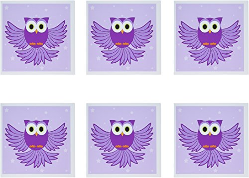 3d Rose 3dRose Cute Purple Flying Owl Under Stars - Greet...
