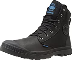 PALLADIUM BOOTS PAMPA SPORT CUFF WPN WATERPROOF BOOTS Modern explorers can amplify their style with these waterproof boots mixing leather and ballistic nylon. Palladium Boots mix a polyurethane collar, waterproof stitching thread, polar fleec...