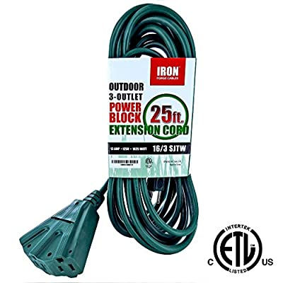 Outdoor Extension Cord - 16/3 SJTW Heavy Duty Green 3 Prong Extension Cable with 3 Electrical Power Outlets - Great for Garden & Major Appliances
