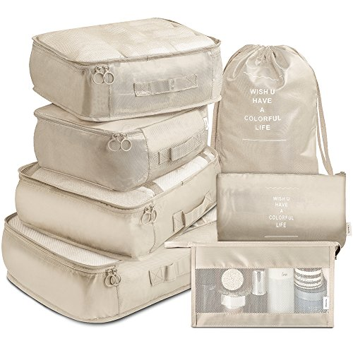 Weekender Traveler Short - Packing Cubes 7 Pcs Travel Luggage Packing Organizers Set with Toiletry Bag (Beige)