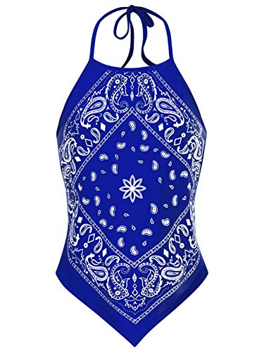 Instar Mode Women's Sexy Paisley Bandana Halter Top Shirt- Made in USA Royal Blue L