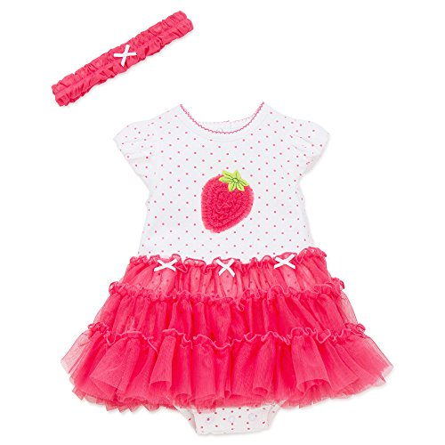 Little Me Strawberry One Piece Tutu Popover Dress with Headband Raspberry 3 mths