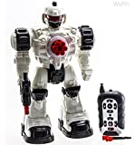 WolVol Remote Control Robot Police Toy with Flashing Lights and Sounds , Steel Force Ares TT712 Silver