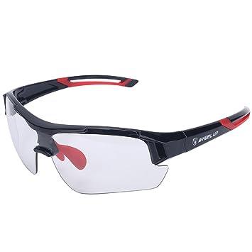 Tbest Gafas de Sol fotocromáticas Unisex, Protección UV a Prueba de Viento Gafas de Bicicleta