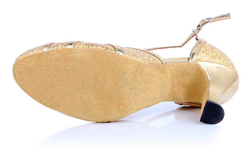 ZHRUI damen Latin Dance, Mittlere Fersen weicher Boden Boden Boden International Standard Standardtanzschuhe Standardtanzschuhe (Farbe   Golden, Größe   Foot Length=22.3CM8.8Inch) 36071d