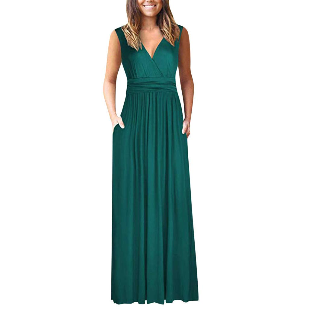 ZOMUSAR Fashion Women's Round Neck Solid Shortsleeve Maxi Dresses Casual Long Dresse with Pocket for Ladies Green