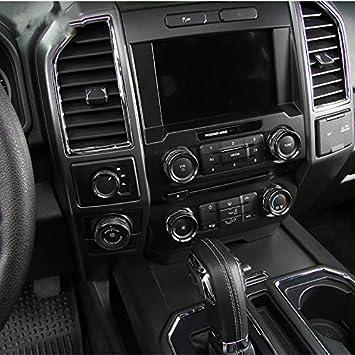 Aluminiumlegierung 6 St/ücke Klimaanlage /& Audio Schalter /& Allradantrieb Schalter /& Anh/änger Schalter Dekorative Ring Abdeckung Zierrahmen F/ür Ford F150 Raptor 2016-2018 Black