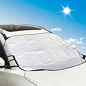 jinzefa Thickened Car Windshield Sun Cover, Sun Shade Protector with Magnetic Edges, Frost Guard Ice Dust Exterior Cover Fits for Most Car and SUV