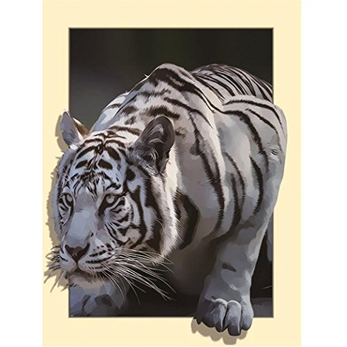 (Diamond Embroidery,Lisin 5D Three-Dimensional Embroidery Painting Rhinestone Pasted DIY Diamond Painting Home Decor Craft Gift Cross Stitch Wall Sticks,Animals (White Tiger, 45x35cm))