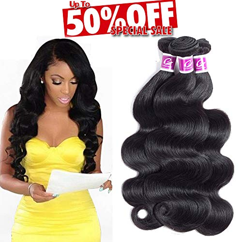 Colorful Queen 8A Brazilian Virgin Hair Body Wave 3 Bundles (12 14 16 Total 300g) Remy Brazilian Hair Weaves 100% Unprocessed Virgin Human Hair Bundles Natural Color for Women