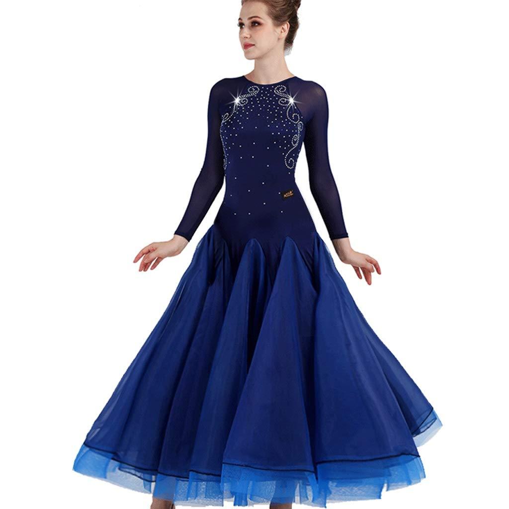 【激安アウトレット!】 エレガントなワルツの競争の服のメッシュスリーブモダンダンススカート全国標準のダンスウェア B07R332D93 XXL ブルー ブルー XXL, ミナノマチ:41623e75 --- a0267596.xsph.ru