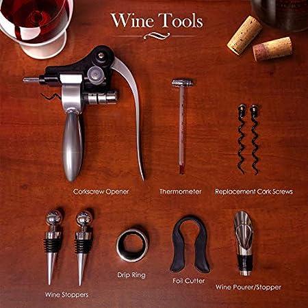 Tenyear - Juego de accesorios para apertura de botellas de vino (9 unidades, acero inoxidable, caja de madera)