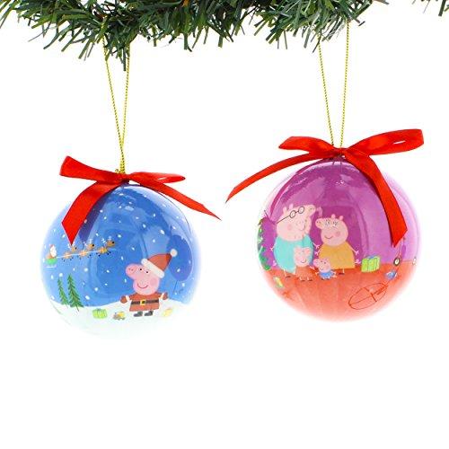Peppa Pig Kurt Adler 2 piece Decoupage Ball Ornament Set Gift Boxed (Peppa Blue/Purple) (Ball Decoupage)