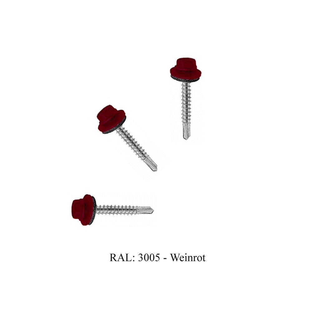 RAL 3005 Trapezblech Schrauben Bohrschrauben Dach Fassadenschrauben 4,8x35mm 250 St/ück Weinrot