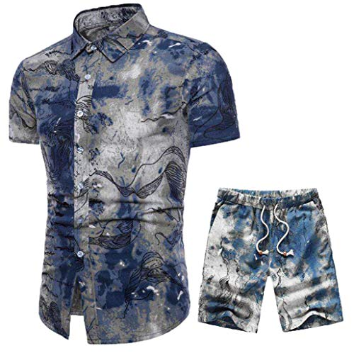 Mens Fashion Print Short Sleeve Button Down Shirt Tops Casual Elastic Short Pant Suit 2 Piece Outfits Summer Sets (Blue, XL)