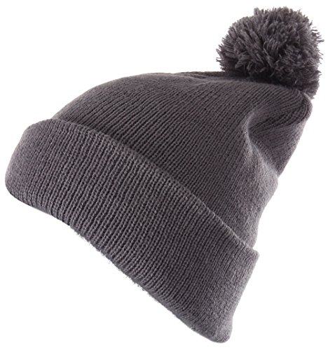 Enimay Winter Pom Pom Knit Beanie Cuffed Skull Cap Striped Team Beanie Soild | Gray One (Team Knit Cap)
