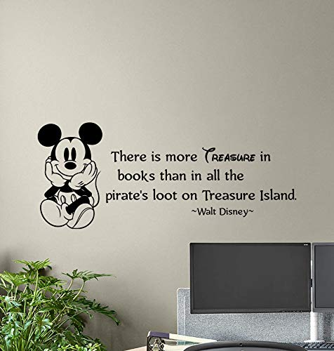 (There is More Treasure in Books Wall Decal Walt Disney Poster Sign Mickey Mouse Baby Quote Vinyl Sticker Kids Decor Playroom Wall - Made in USA-Fast delivery)