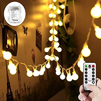 33ft 100 leds battery operated string lights wertioo globe fairy lights with remote control for - Battery Christmas Lights With Timer