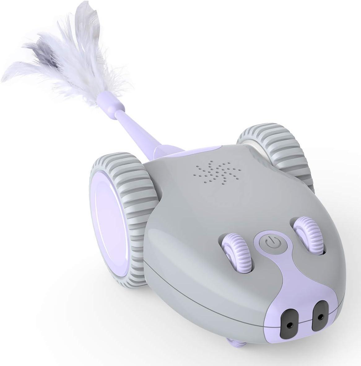 DADYPET Juguete para Gatos Robótico Interactivo,Forma de Mouse Movimiento Automático Irregular,USB Recargable Electrónico Juguetes Gatos con 5 Plumas