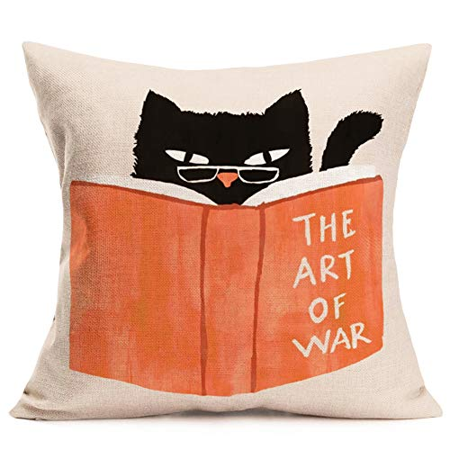 Aremazing Cat Pillows Decorative Throw Pillow Covers Adorable Black Kitty Cat Reading The Art of War Books Design Pillow Case 18x18 inches Cotton Linen Square Cushion Cover for Sofa Couch (Cat Reading)